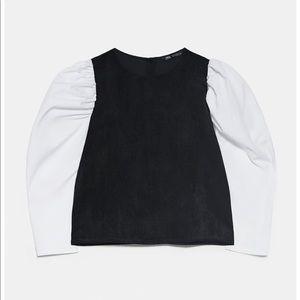 NWT Zara Combo Puff Sleeve Corduroy Top size XS